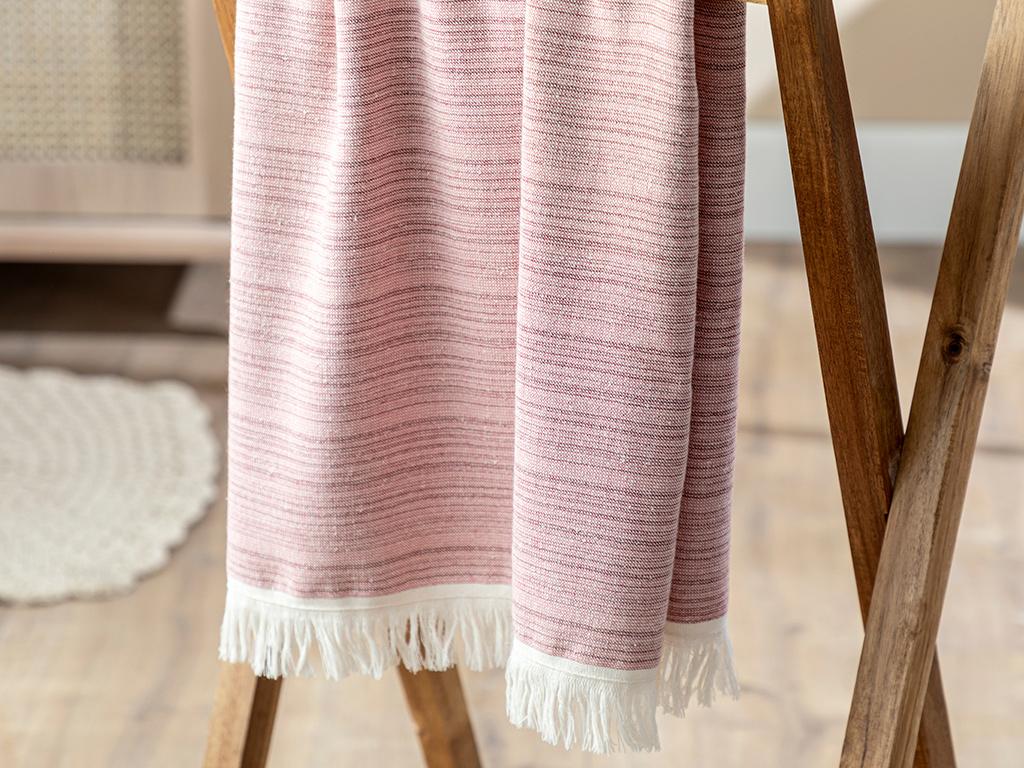 Mina Stripe Cottony Face Towel 50x80 Cm Claret Red