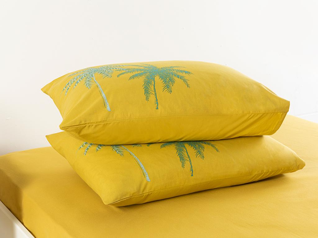 Glitter Palm Cottony 2 Set Pıllowcase 50x70 Cm Kiwi Green