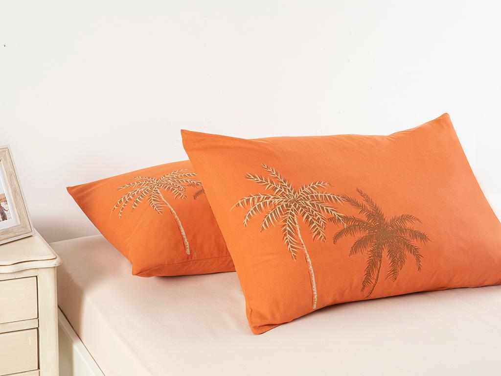 Glitter Palm Cottony 2 Set Pıllowcase 50x70 Cm Burnt Orange
