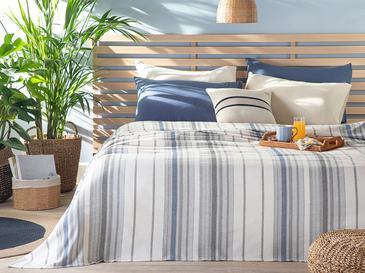Contemporary Пике-Лятно Одеяло Единичен Размер 150x220 См Сиво-Тъмносиньо