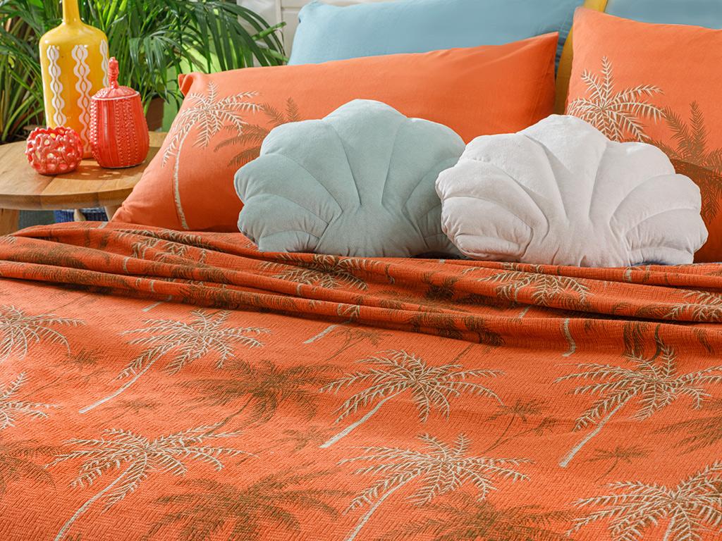Glitter Palm Printed Double Person Summer Blanket 200x220 Cm. Burnt Orange