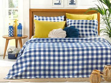 Gingham Пике-Лятно Одеяло Единичен Размер 150x220 См Тъмносиньо