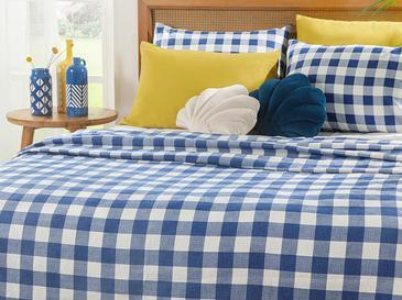 Gingham Пике-Лятно Одеяло Двоен Размер 200x220 См Тъмносиньо