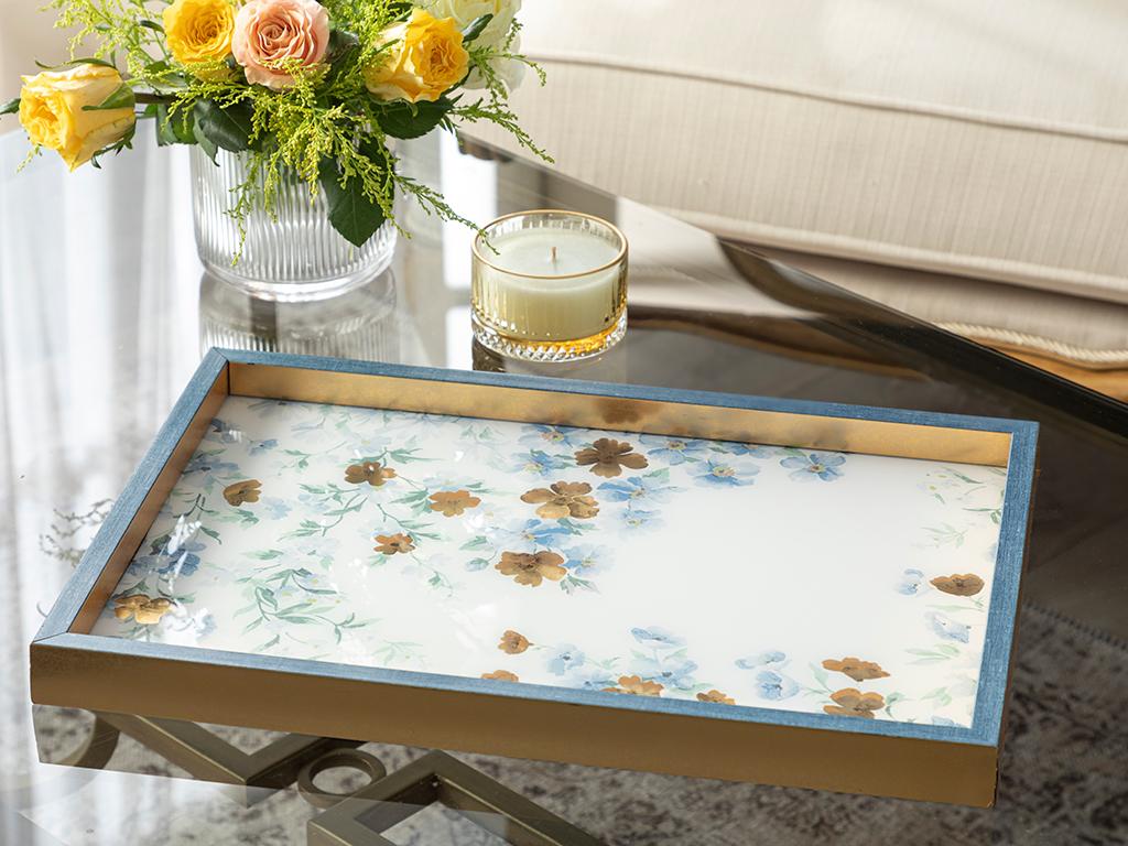 Floret Glass Decorative Tray 31x46 Cm Blue