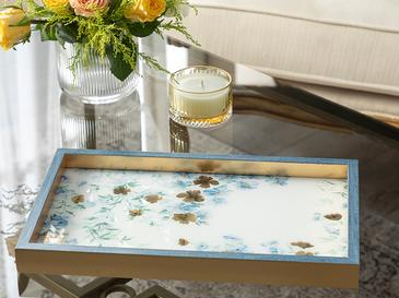 Floret Декоративна Табла Стъкло 22x37 Cm Синьо
