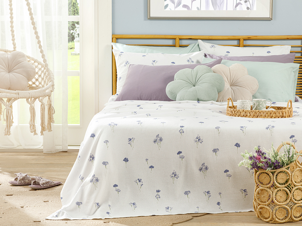 Printed Double Person Summer Blanket 200x220 Cm. Lilac,