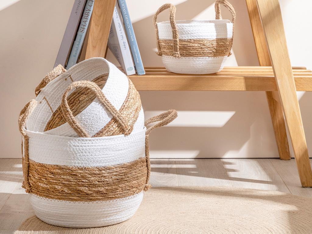 Audrey Basket White-brown