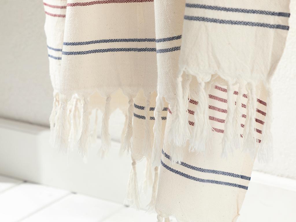 Nature Cottony Peshtemal Beige-claretred