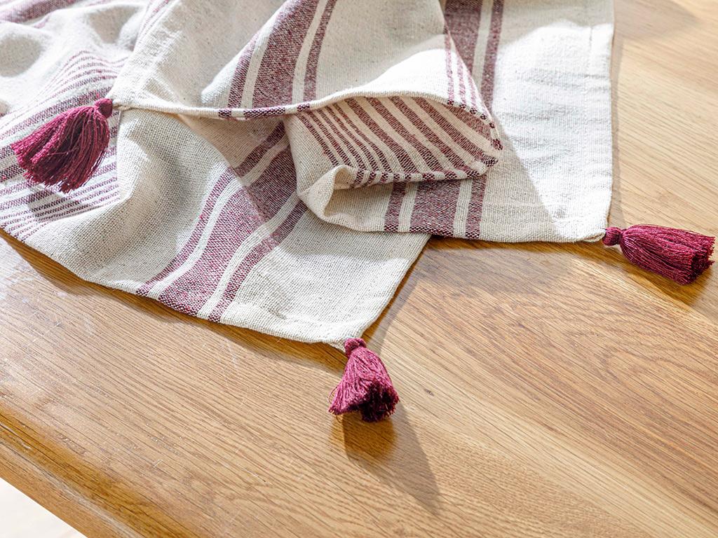 Nola Cotton Polyester Fringed Runner 40x150 Cm Cream-claret Red