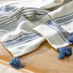 Nola Cotton Polyester Fringed Runner 40x150 Cm Navy Blue-cream