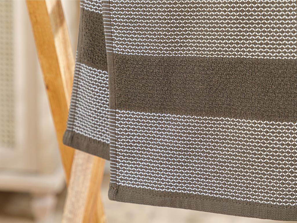 Elegant Lines Face Towel 50x80 Cm Brown