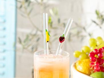 Strawberry-Lemon Сламка Стъкло 20 См Червено-Жълто