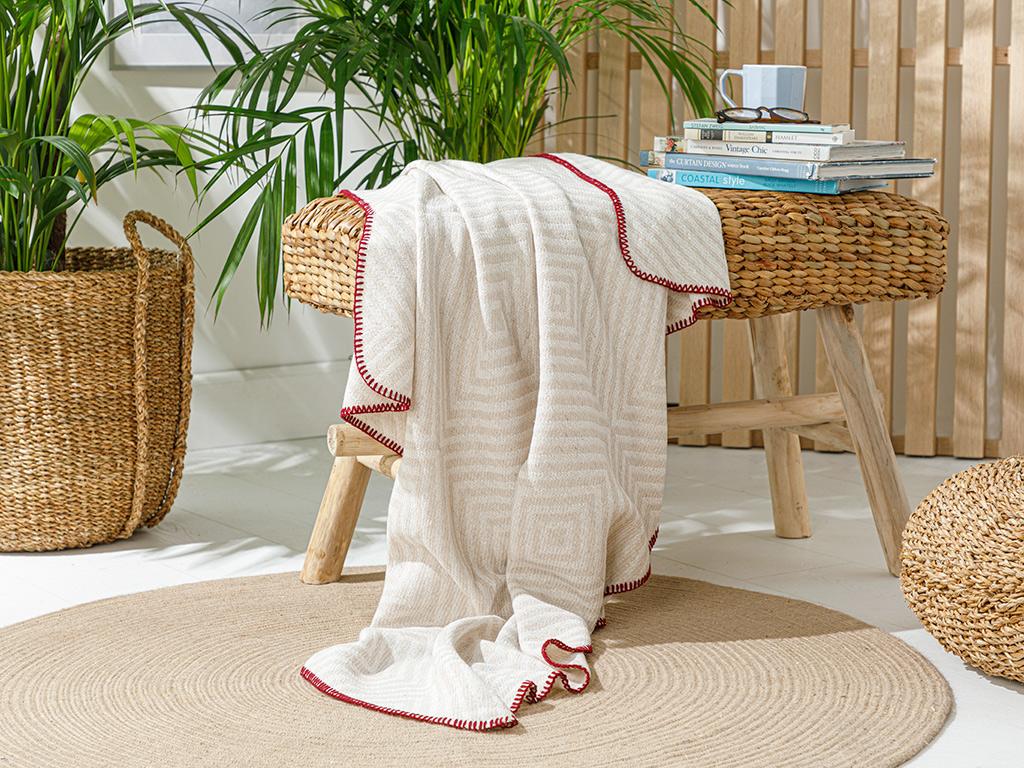 Weaved Chaır Shawl 130x170 Cm. Beige
