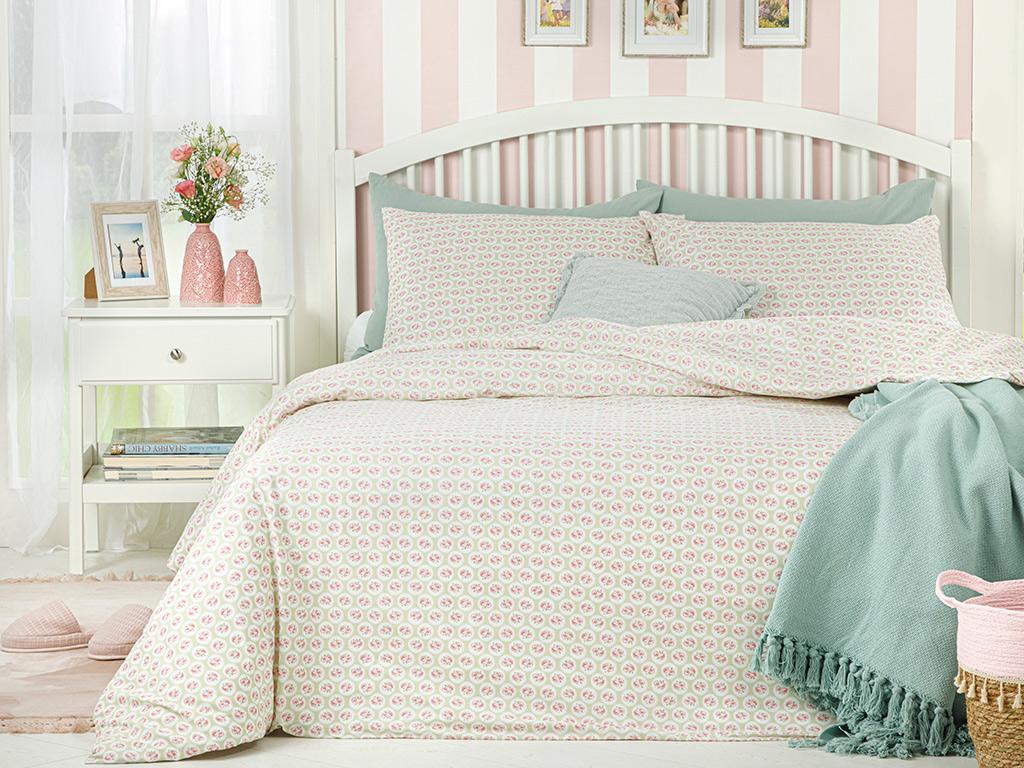 Little Cherry Cotton Duvet Covet Set Super King 260x220 Cm Light Green