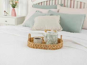Leafy Пике-Лятно Одеяло Двоен Размер 200x220 См Бяло