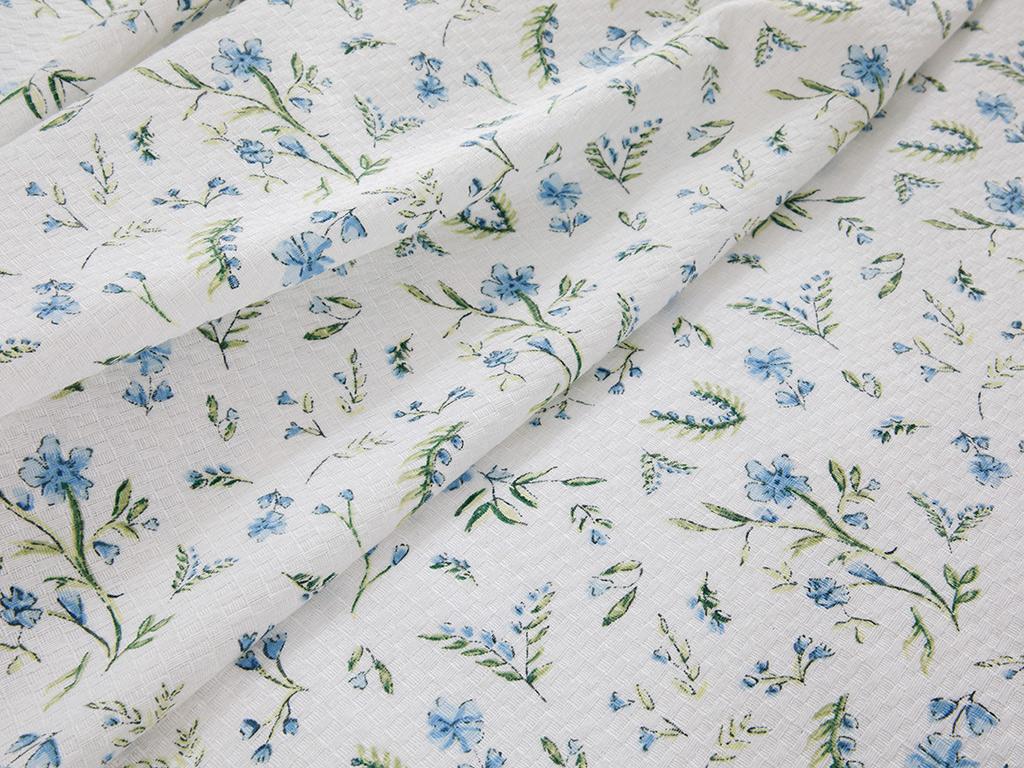 Printed For One Person Summer Blanket Set 150x220 Cm Mavi
