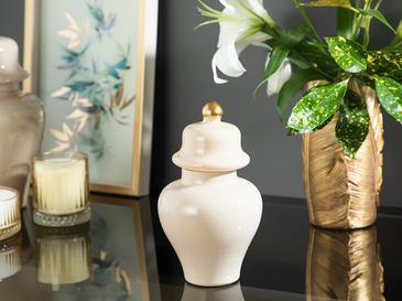 Chelsea Декоративна Ваза с Капак Стъкло 25 Cm Кремаво