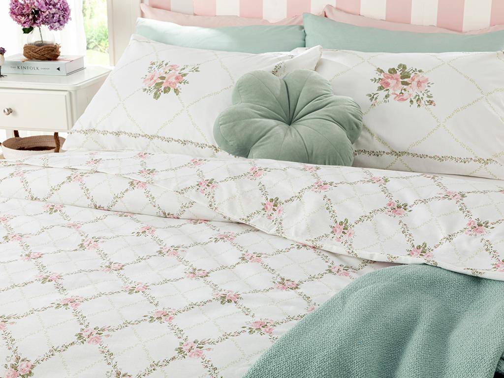 Rose Chain Cotton Duvet Cover Set Single Size 160x220 Cm Light Pink