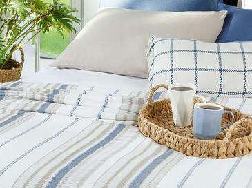 Contemporary Пике-Лятно Одеяло Единичен Размер 150x220 См Бежово-Тъмносиньо