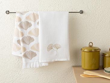 Gingko Biloba Кърпа За Изсушаване 2 Броя Памучен 40x60 Бяло