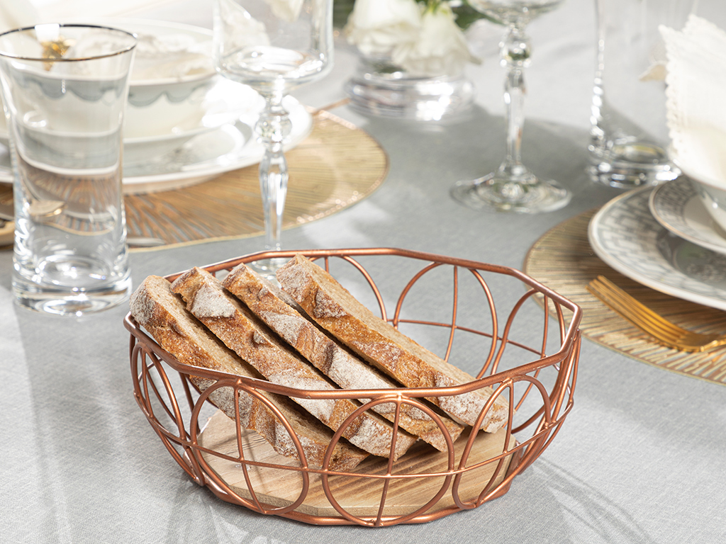 Lilian %93 Metal %7 Mdf Bread Basket 20 Cm. Rose