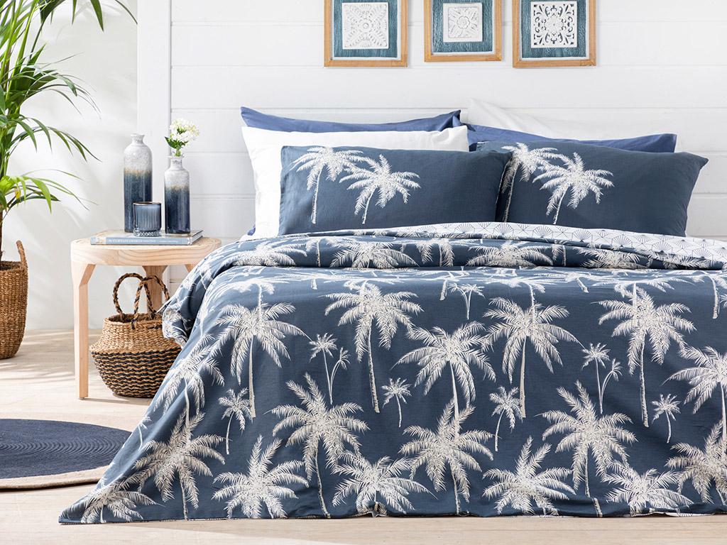 Glitter Palm Cottony Super King Duvet Cover Set Pack 260x220 Cm Dark Blue