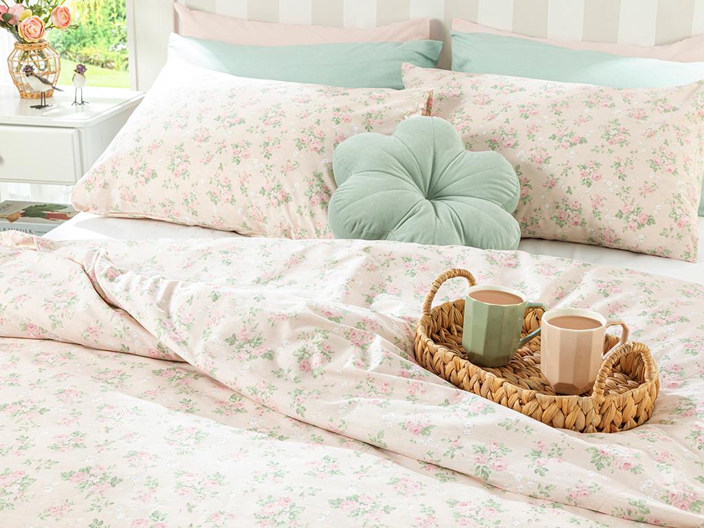 Sweet Rose Cotton Duvet Cover Set Single Size 160x220 Cm Powder