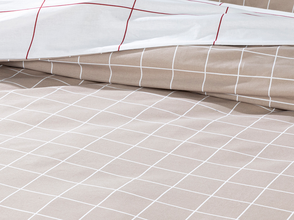 Plain Check Cottony For One Person Duvet Cover Set Pack 160x220 Cm Beige