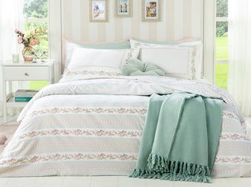 Floral Stripe Сет Горен Плик+2 Калъфки Super King Size 260x220 См Светлозелено