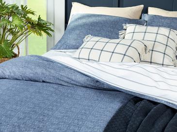 Textured Stripe Сет Горен Плик+2 Калъфки Двоен Размер 200x220 См Тъмносиньо