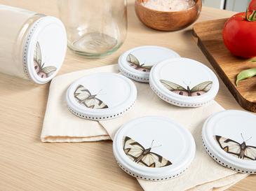 Butterfly Капачки за Буркан 10 Бр. Метал 82 mm Бяло