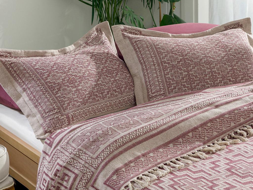 Jacquard Weave For One Person Bed Quılt Set 160x240 Cm Mürdüm