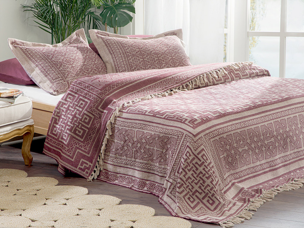 Jacquard Weave Double Person Bed Quılt Set 240x260 Cm. Mürdüm