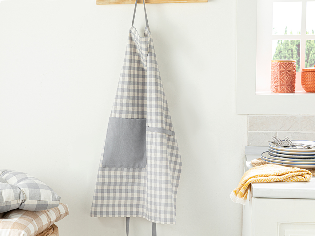 Gingham Cotton Polyester Kıtchen Apron Gray