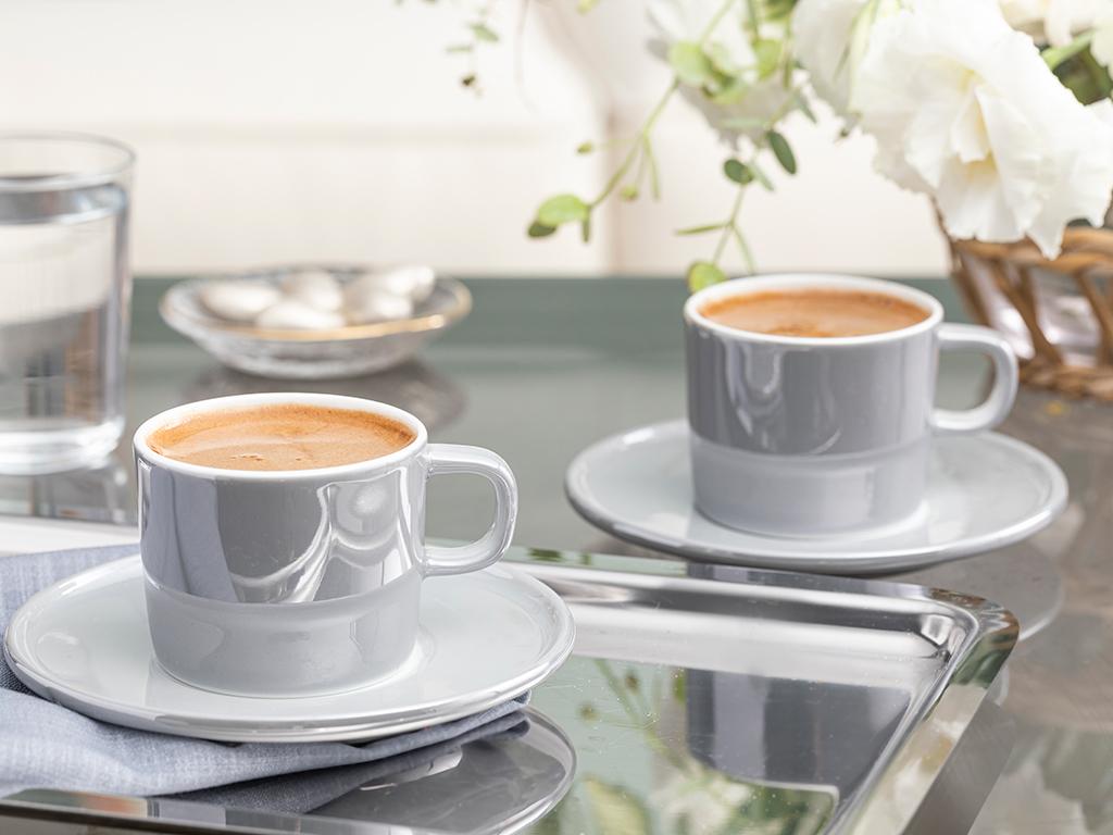 Porcelain 2 Set Coffee Cup Set 70x80 Cm Gray