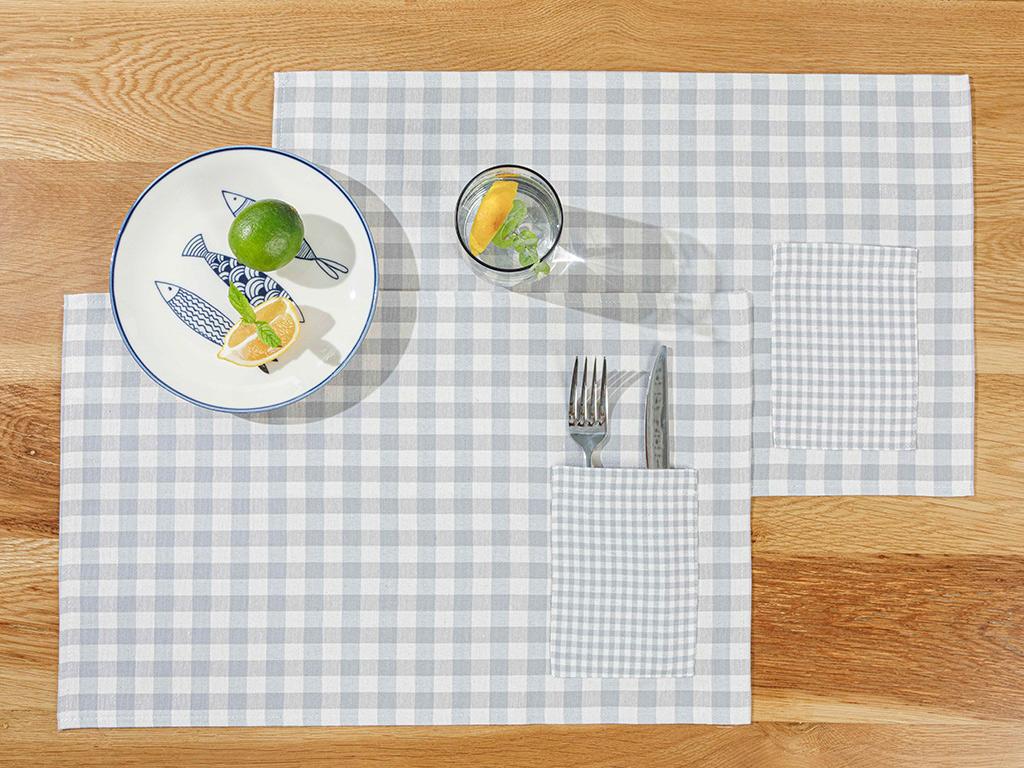 Gingham Cotton Polyester 2 Set Place Mat 30x50 Cm Gray