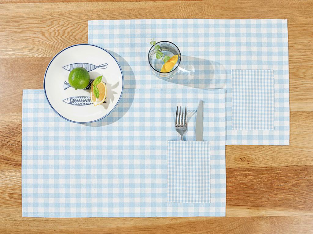 Gingham Cotton Polyester 2 Set Place Mat 30x50 Cm Blue