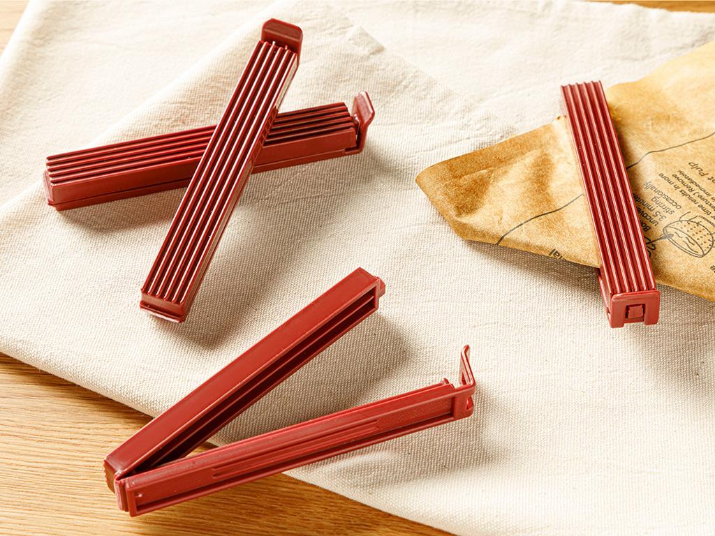 Trendy Plastic 4 Pieces Bag Clıp Claret Red