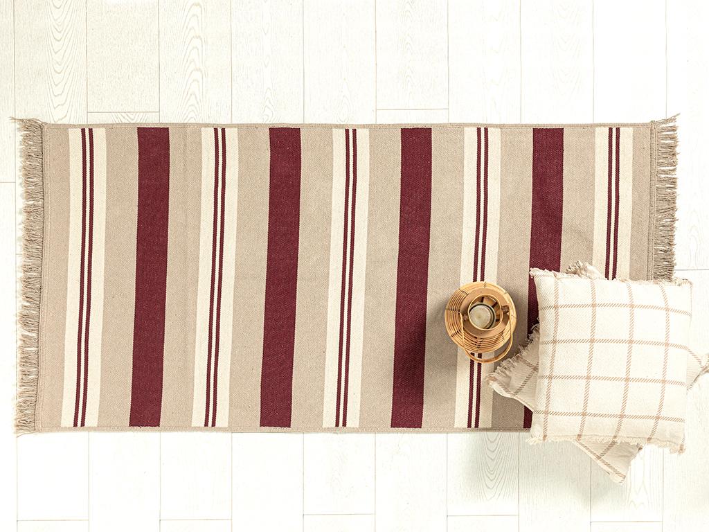 Multi Colors Cottony Rug 80x250 Beige-claretred