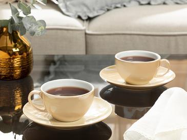 Комплект Чаени Чаши 2 Броя Порцелан 22,5x27,5 Cm Млечно Кафяво