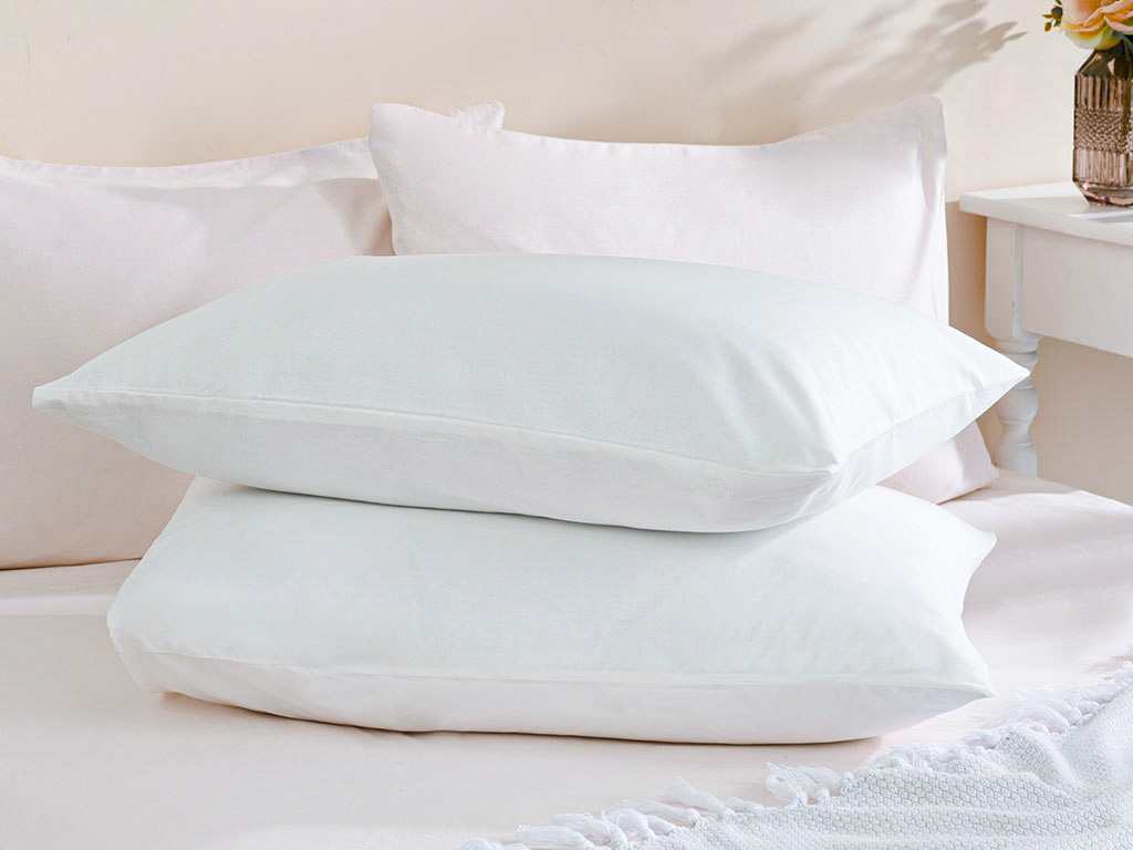 Plain Cotton Pillowcase 2 Piece 50x70 Cm White