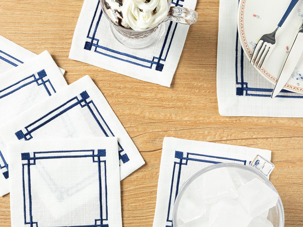 Agate Polyestere 6 Set 14x14cm Dark Blue